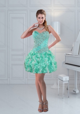 Fashionable Apple Green Sweetheart Ruffled Beaded Beautiful Prom Dresses for 2015