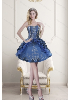 Fashionable Sweetheart Blue Embroidery and Beading Prom Dresses for 2015