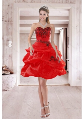Fashionable Sweetheart Red 2015 Prom Dresses with Embroidery and Ruffles