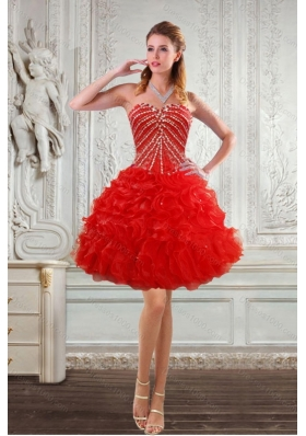 New Style Sweetheart Prom Dresses with Beading and Ruffles for 2015