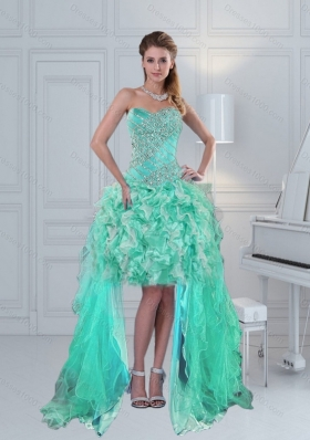 Prettu High Low Sweetheart Ruffles and Beading Prom Dresses in Apple Green