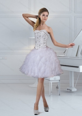 2015 Elegant Strapless White Prom Dresses with Ruffles and Beading