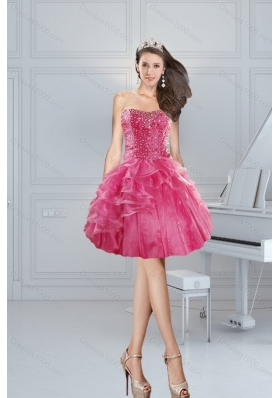 2015 Gorgeous Pink Sweetheart Short Prom Dresses with Beading and Ruffles