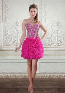 2015 Sweetheart Hot Pink Short Prom Gown with Beading and Ruffled Layers