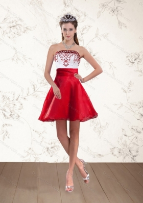 Cheap Strapless White And Wine Short Red Prom Dresses with Embroidery