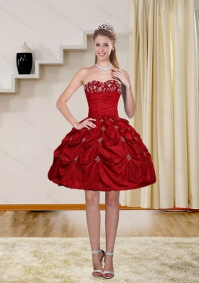 2015 Ball Gown Red Strapless Sexy Prom Dresses with Embroidery