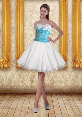 2015 White Sweetheart Sexy Prom Dresses with Blue Embroidery