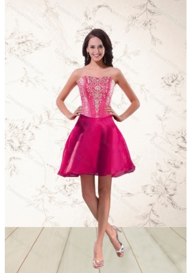 2015 New Style Strapless Sexy Prom Dresses with Appliques