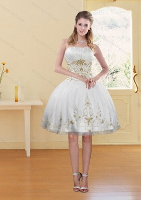 2015 Sexy White Strapless Prom Dress with Embroidery