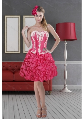 Hot Pink Sweetheart 2015 Sexy Prom Dresses with Pick Ups and Embroidery