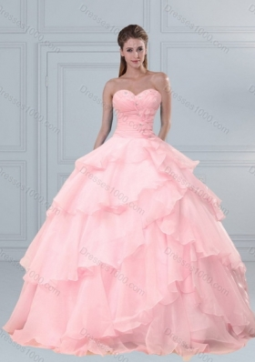 Popular Pink Sweetheart Beaded Quinceanera Dresses with Ruffled Layers for 2015