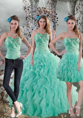 2015 New Style Aqua Blue Quinceanera Dresses with Beading and Ruffles