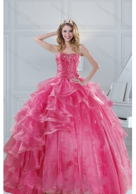 2015 Designer Pink Strapless Sweet 15 Dresses with Beading and Ruffles