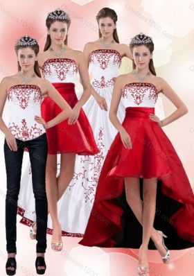 2015 Detachable Beautiful Strapless Quinceanera Dress with Embroidery