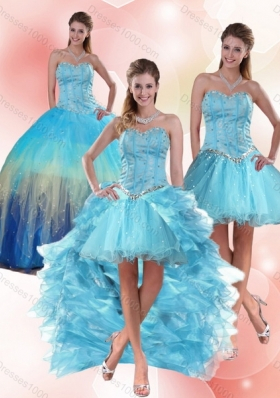 Detachable Beaded Sweetheart Multi Color Quinceanera Dress with Ruffles