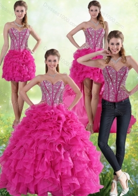 Detachable Hot Pink Sweetheart Quinceanera Gown with Beading and Ruffles