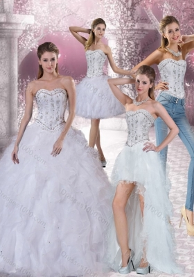 Detachable White Sweetheart 2015 Quinceanera Dress with Ruffles and Beading