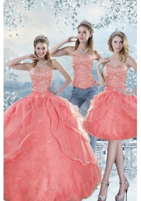 2015 Detachable Watermelon Quinceanera Dresses with Beading