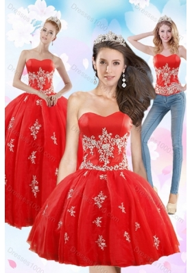 2015 Exquisite and Detachable Strapless Red Quince Dresses With Appliques