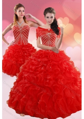2015 Fashionable Quinceanera Dresses With Beading and Ruffles
