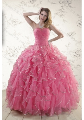 2015 Fashionable Rose Pink Quince Dresses with Paillette and Ruffles
