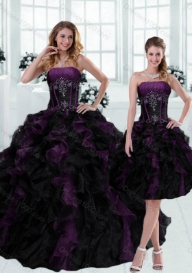 Detachable 2015 Strapless Multi Color Ruffled Quinceanera Dresses with Beading
