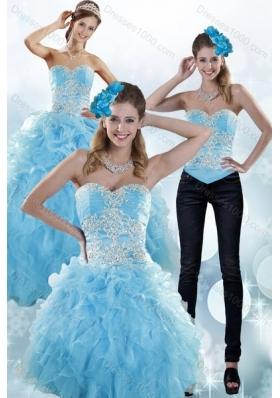 Detachable Baby Blue Sweetheart 2015 Sweet 15 Dresses with Embroidery and Ruffles