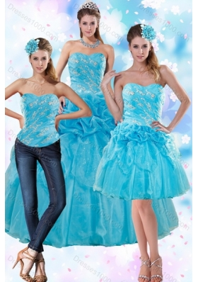 Detachable Blue Quince Dresses with Embroidery and Pick Ups