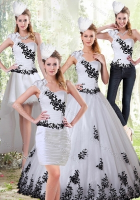 Detachable White and Black Sweetheart 2015 Quinceanera Dress with Embroidery