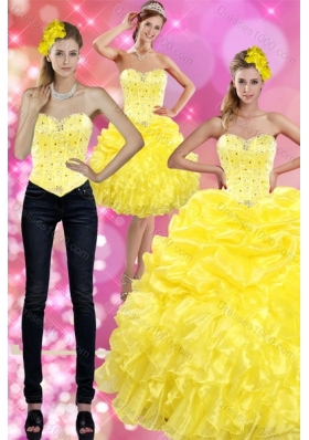 Detachable Yellow 2015 Quince Dresses with Beading and Ruffles