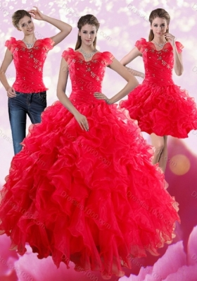 Fashionable Red Sweetheart Quince Dresses with Ruffles and Beading for 2015