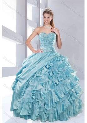 Fashionable Sweetheart Beading Aqua Blue Quinceanera Dresses in Taffeta for 2015