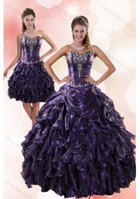 Fashionable Sweetheart Ruffled 2015 Quinceanera Dresses with Embroidery
