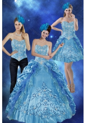 2015 Fashionable Sweetheart Teal Quinceanera Gown with Embroidery and Pick Ups