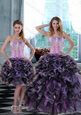 2015 New Style Elegant Appliques and Ruffles Quinceanera Dresses in Multi Color