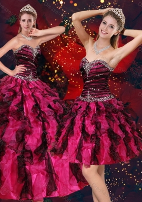New Style Pretty Multi Color Sweetheart Quince Dresses with Beading and Ruffles