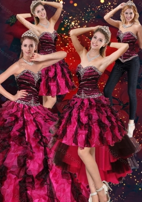 2015 Sweetheart Beaded and Ruffled Sweet 16 Dress in Multi Color