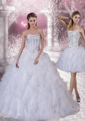 2015 Sweetheart White Sweet Sixteen Dress with Ruffles and Beading