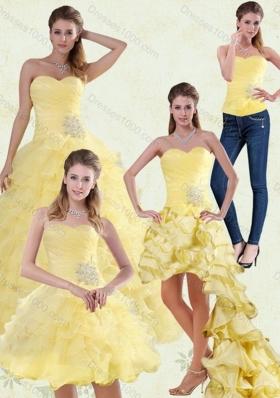 Yellow Beaded and Ruffled Sweetheart Sweet Sixteen Dress for 2015