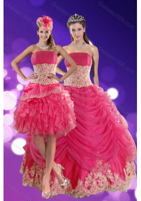 2015 Exquisite Hot Pink Sweet Sixteen Dresses with Beading and Lace