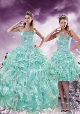 2015 Fashionable Beading and Ruffles Aqual Blue Sweet Sixteen Dresses