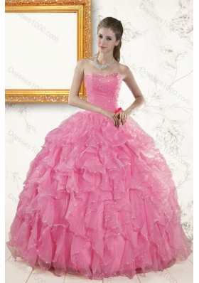 2015 Unique and Detachable Baby Pink Beading and Ruffles Quinceanera Dresses