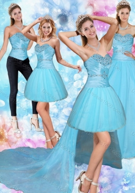 2015 Unique and Detachable Sweetheart Baby Blue Quinceanera Dress with Beading