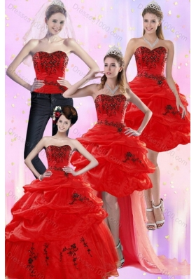 Unique and Detachable Red Quinceanera Dresses with Appliques and Pick Ups for 2015