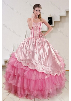 Unique and Detachable Strapless Pink 2015 Cute Quinceanera Dresses with Embroidery and Ruffles