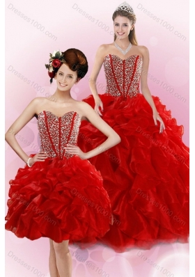 2015 New Style Red Quince Dresses with Beading and Ruffles