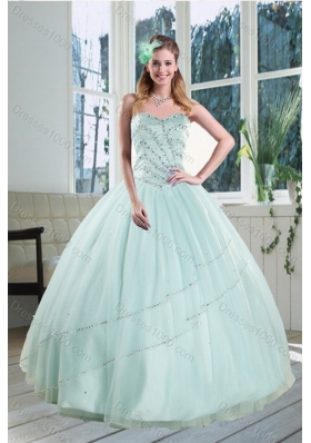 2015 Unique and Detachable Beautiful Apple Green Strapless Sweet 15 Dresses with Beading