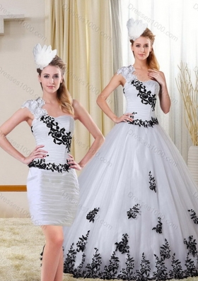 2015 Unique and Detachable One Shoulder Sweetheart White and Black Quinceanera Dress with Appliques