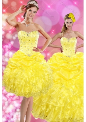 2015 Unique and Detachable Sweetheart Yellow Sweet 15 Dresses with Beading and Ruffles