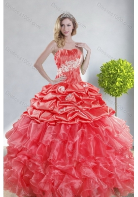 2015 Unique and Detachable Top Seller Watermelon Red Quince Dresses with Appliques and Ruffles